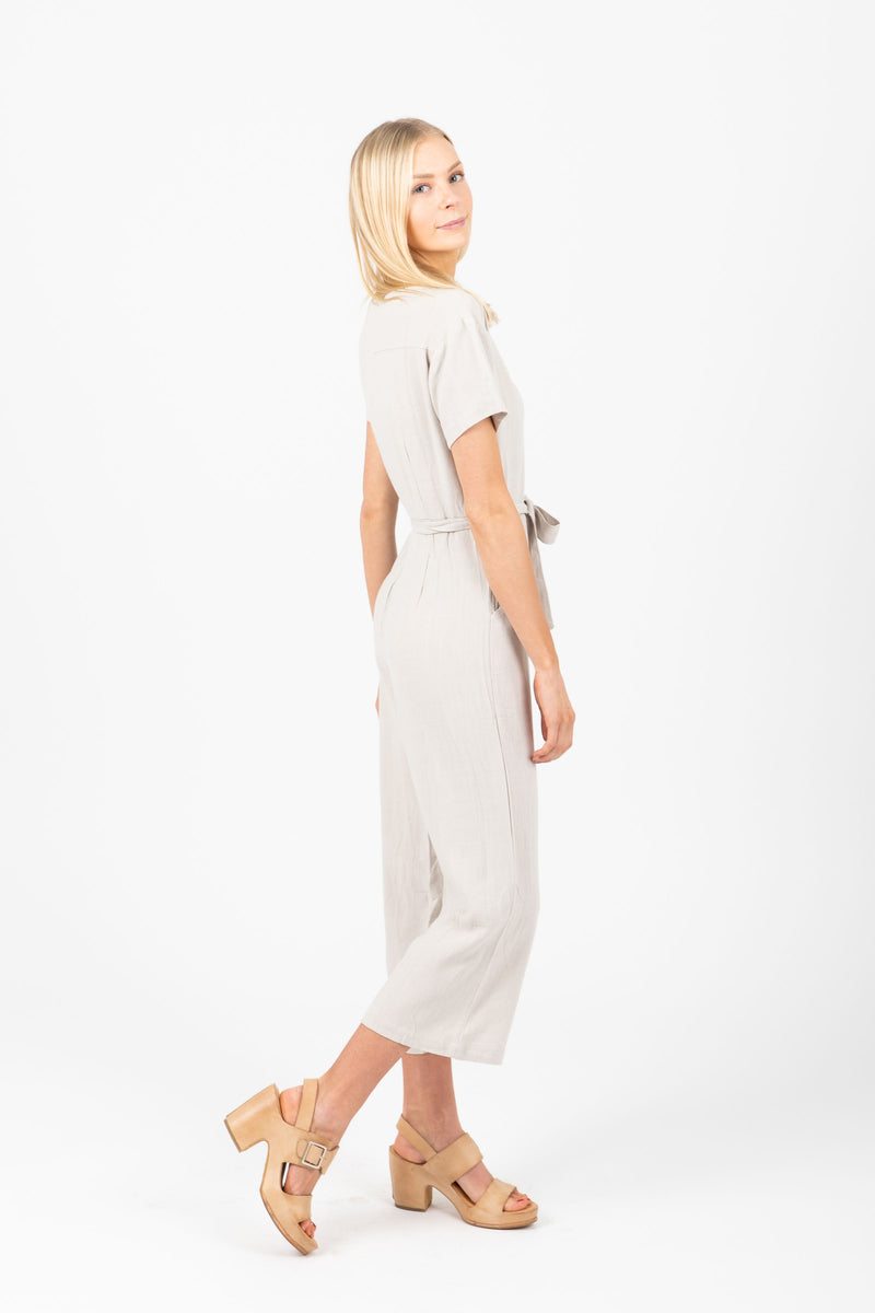 The Pigeon Button Pocket Jumpsuit in Light Grey