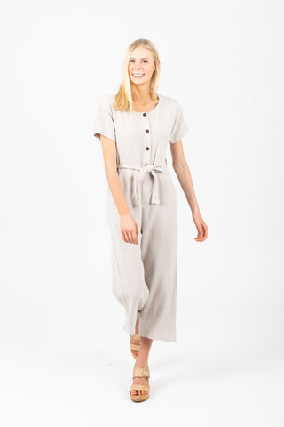 The Denham Patterned Button Jumpsuit in Taupe