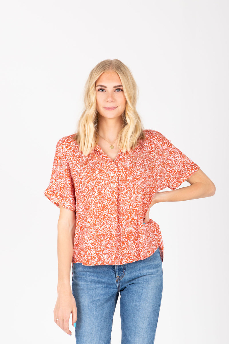 The Camdyn Printed Collared Blouse in Poppy, studio shoot; front view
