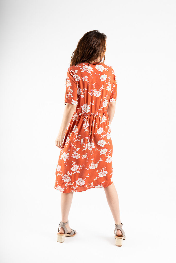 The Elton Floral Button Dress in Rouge