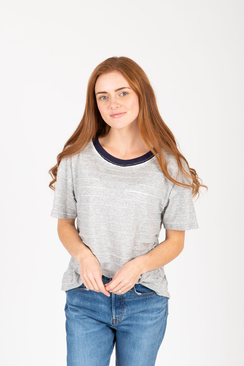 The Gooding Contrast Detail Blouse in Heather Grey, studio shoot; front view