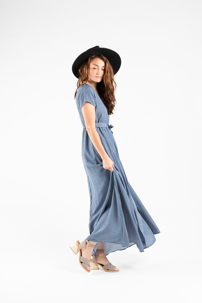 Piper & Scoot: The Odessa Dot Wrap Dress in Dusty Blue