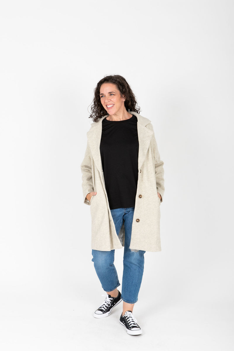 The Wilkins Collared Pocket Coat in Ash, studio shoot; front view