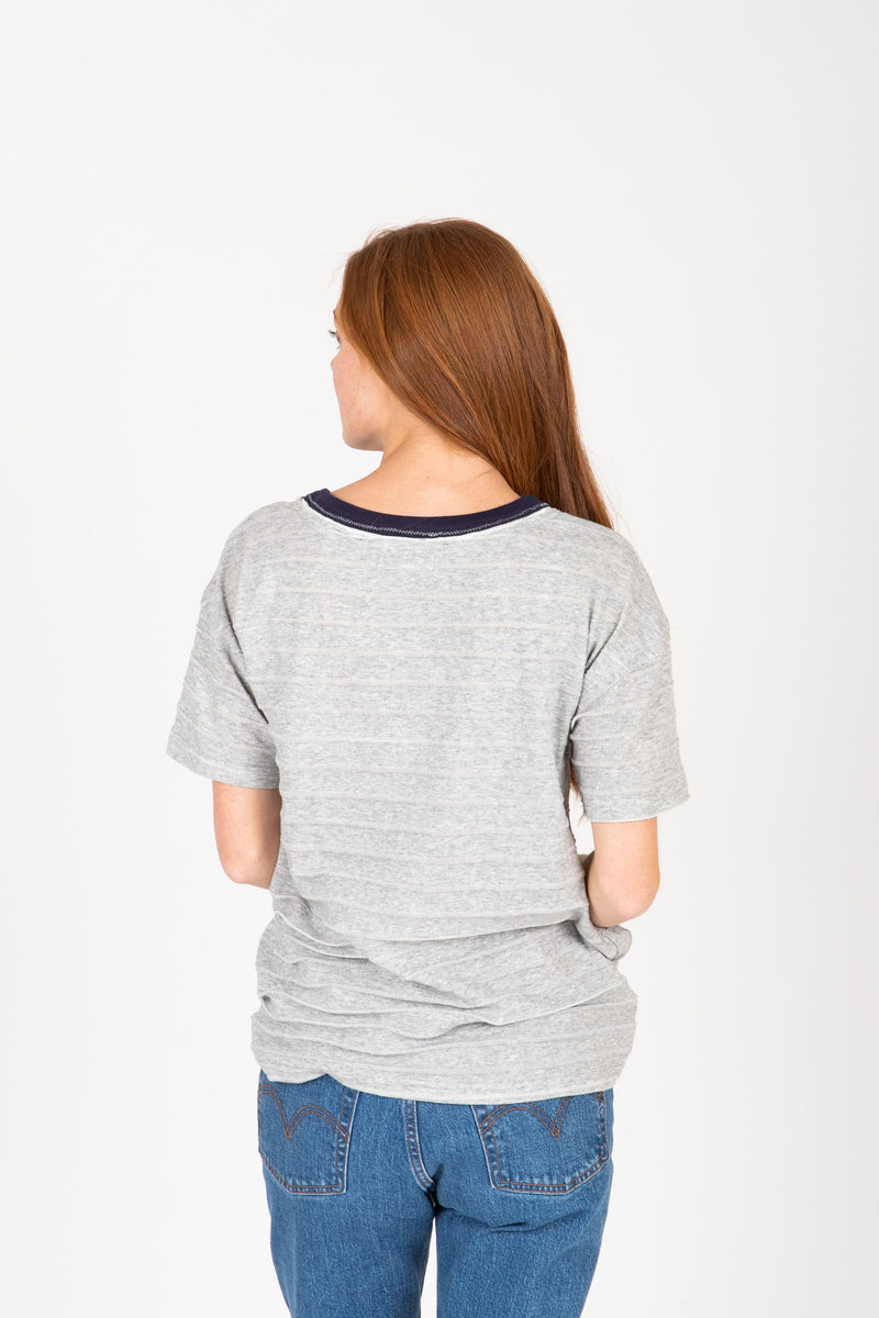 The Gooding Contrast Detail Blouse in Heather Grey, studio shoot; back view
