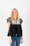The Pieter Embroidered Stripe Blouse in Black