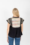 The Dimarco Textured Detail Blouse in Black, studio shoot; back view