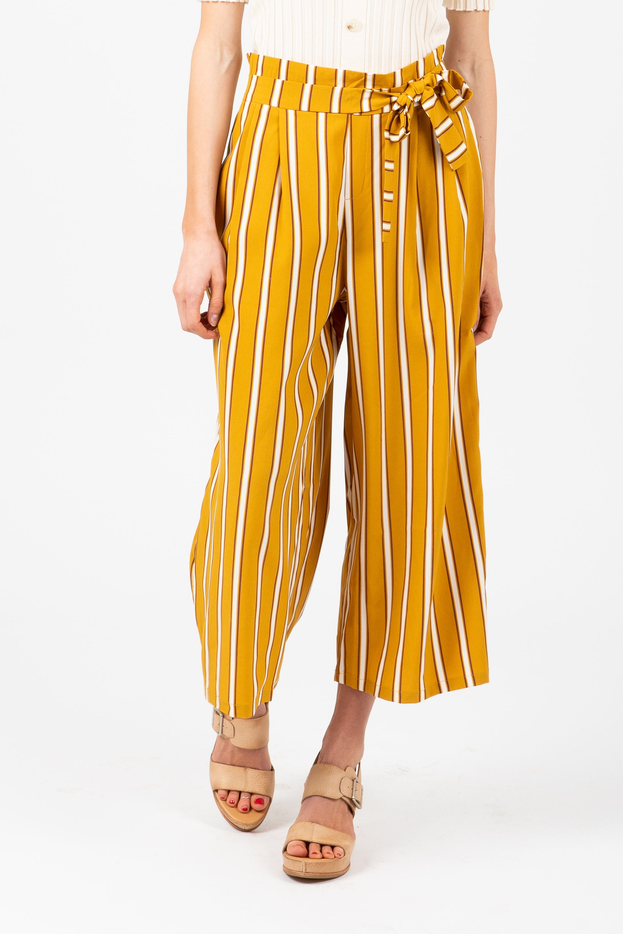 The Pretty Please Striped Wide Leg Trouser in Mustard