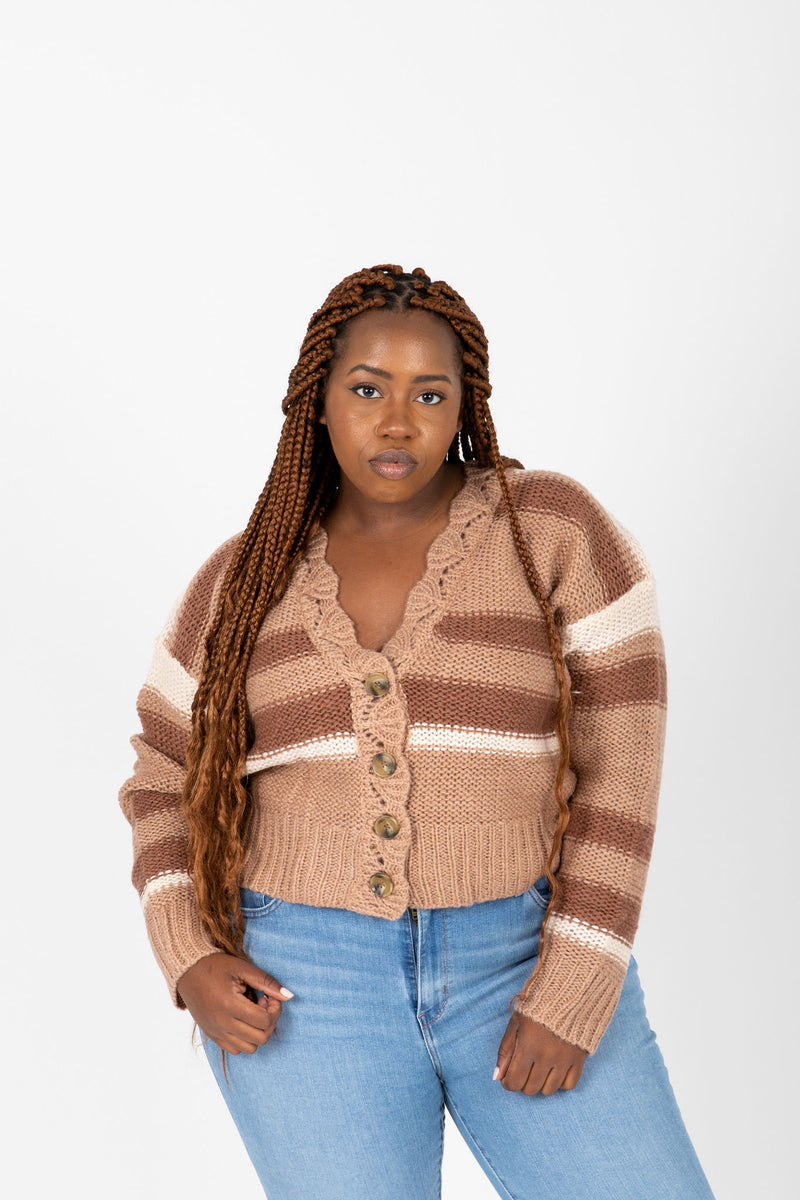 The Reycroft Button Cardigan in Clay, studio shoot; front view