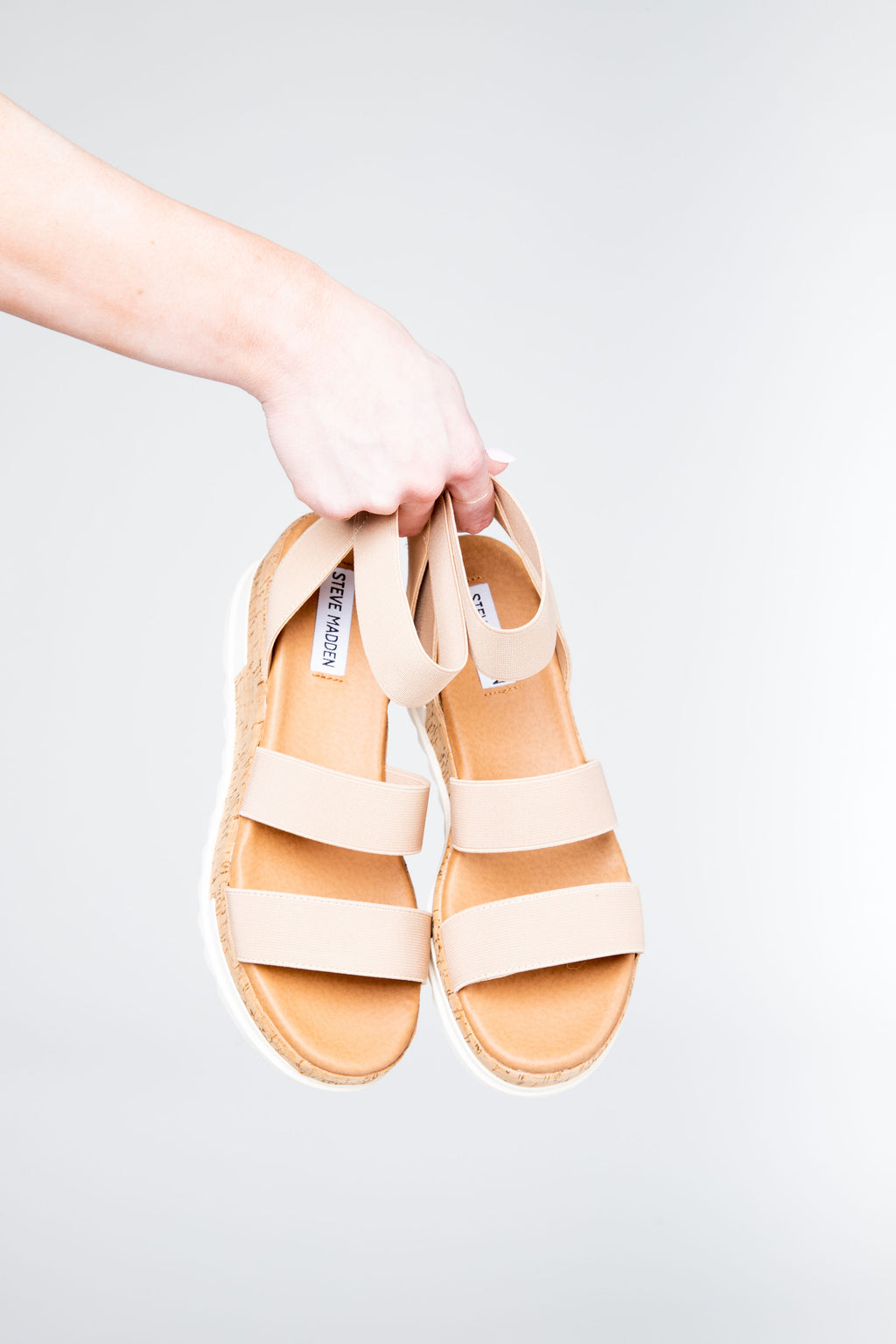 Steve Madden: The Bandi Sandal in Blush, studio shoot; front view
