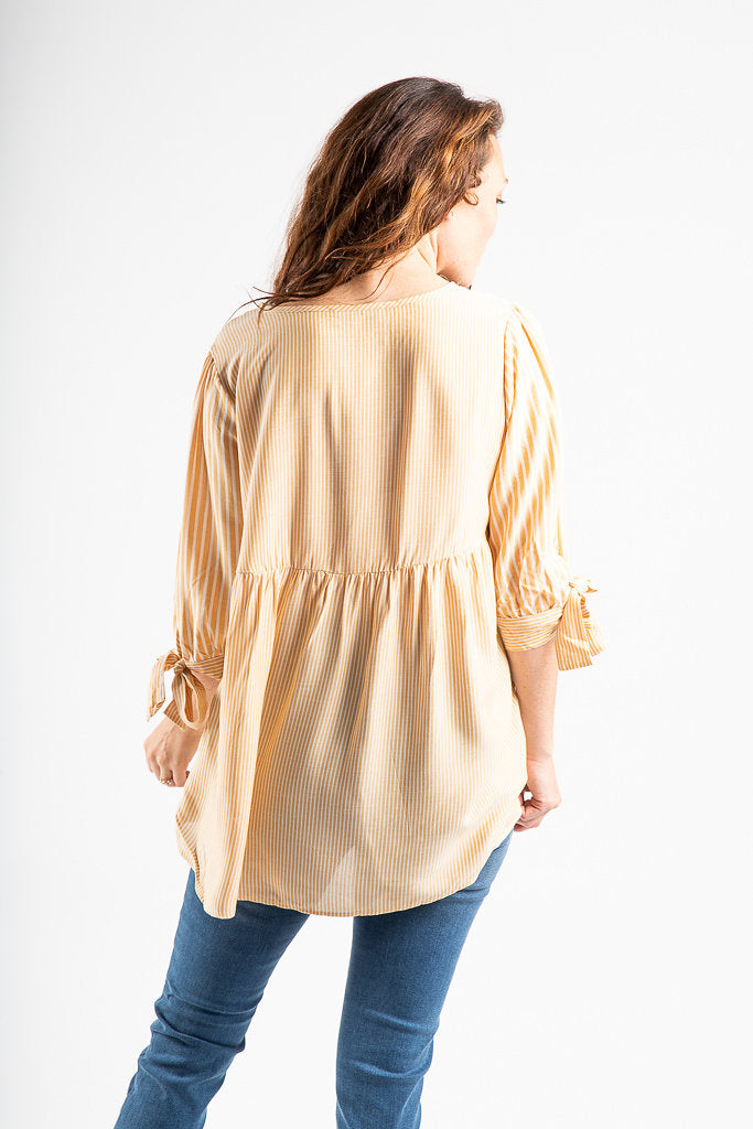 The Yale Striped Tie Sleeve Blouse in Daffodil