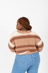 The Reycroft Button Cardigan in Clay, studio shoot; back view