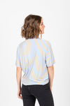 The Bensen Striped Button Up Blouse in Blue + Camel, studio shoot; back view