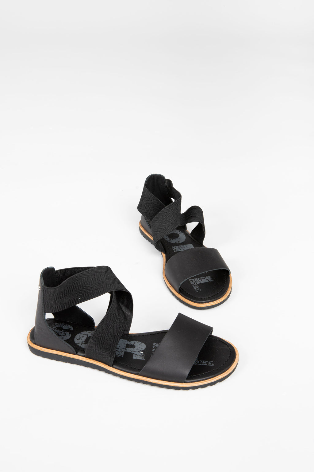 SOREL: Ella Sandal in Black, studio shoot; front view