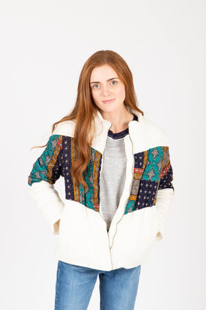The Deanne Patterned Puffer Coat in Ivory, studio shoot; front view