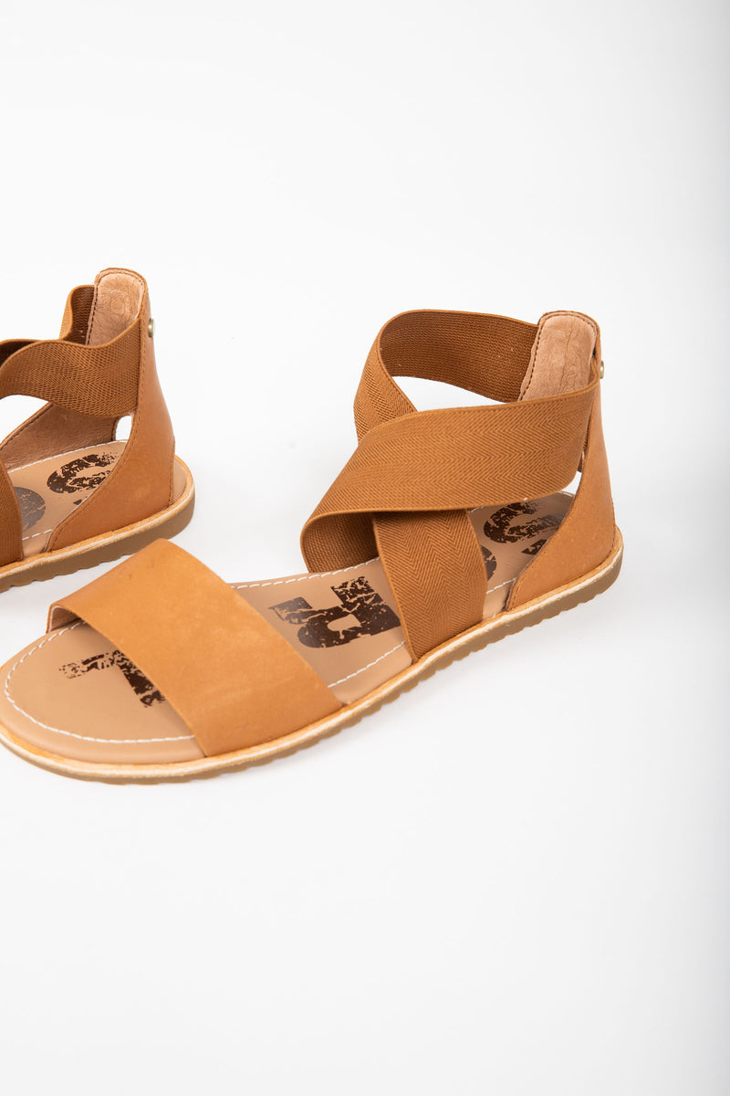 SOREL: Ella Sandal in Camel Brown, studio shoot; side view