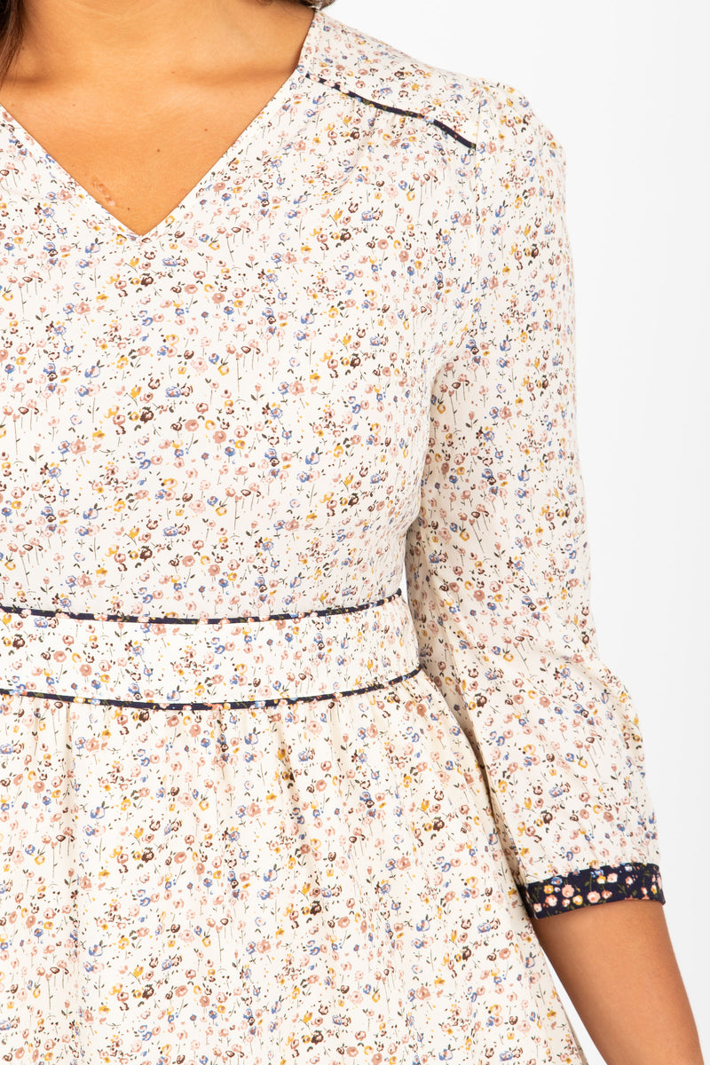 The Beat Floral Detail Dress in Ivory