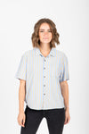 The Bensen Striped Button Up Blouse in Blue + Camel, studio shoot; front view