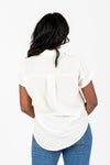 The Polly Lace Detail Blouse in Cream, studio shoot; back view