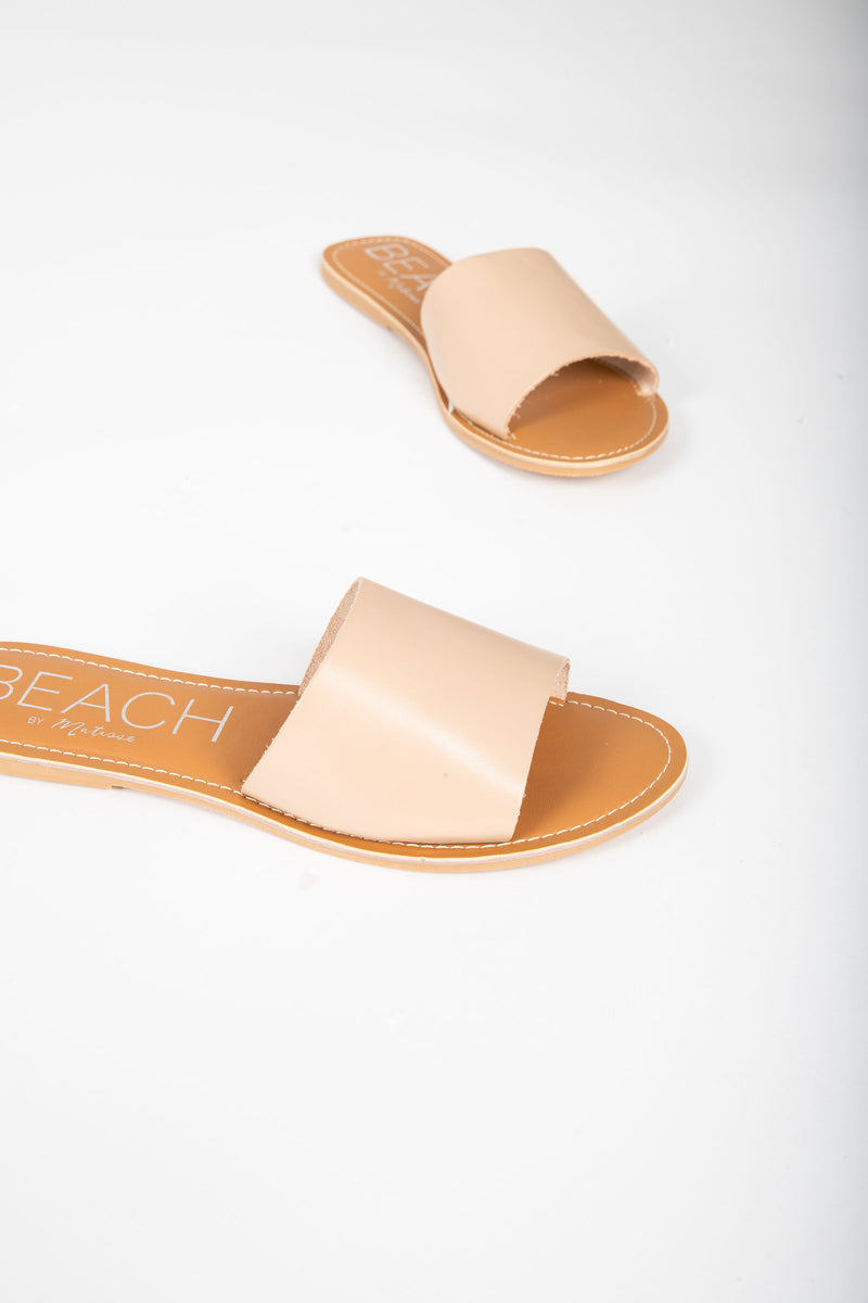 Coconuts by Matisse: Cabana Slide Sandal in Natural, studio shoot; front view