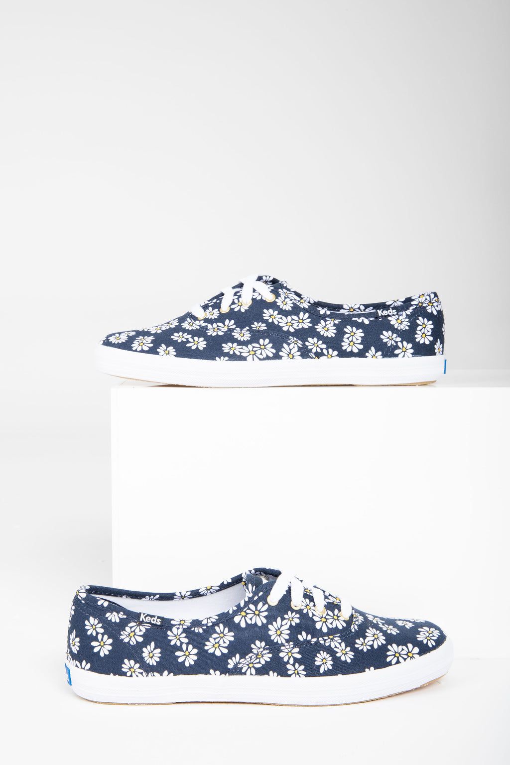 Keds: Champion Sneaker in Daisy Print, studio shoot; side view
