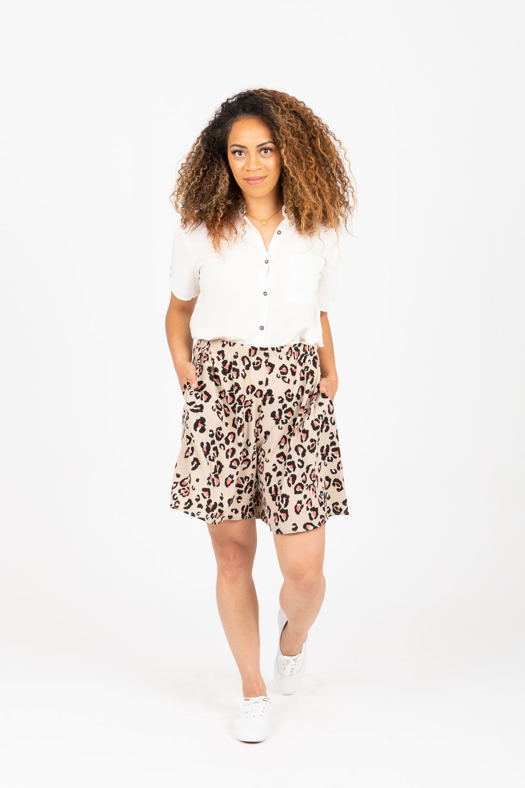 The Cami Leopard Casual Shorts in Cream