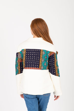 The Deanne Patterned Puffer Coat in Ivory, studio shoot; back view