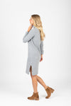 The Revive Ribbed Turtleneck Sweater Dress in Heather Grey, studio shoot; side view