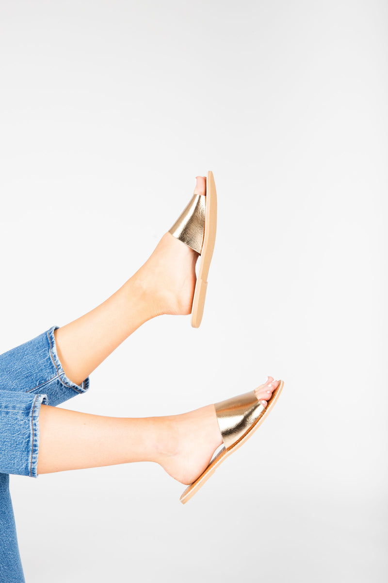 Coconuts by Matisse: Cabana Slide Sandal in Bronze, studio shoot; side view
