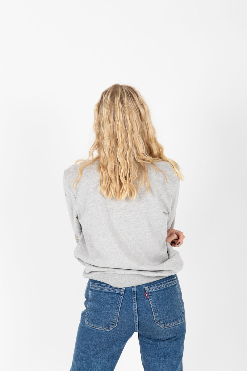 The Roe Embroidered Detail Sweatshirt in Heather Grey, studio shoot; back view