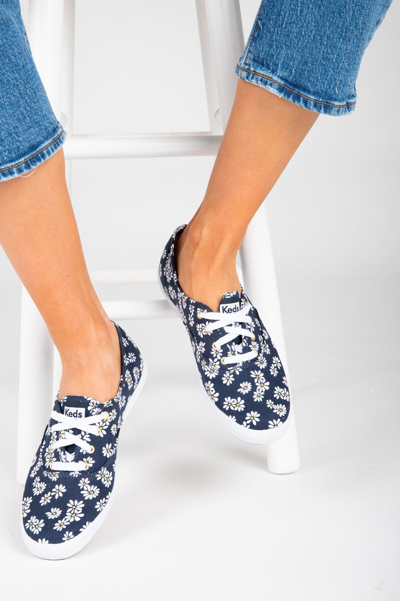 Keds: Champion Sneaker in Daisy Print, studio shoot; front view