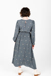 The Stellar Embroidered Dress in Slate, studio shoot; back view