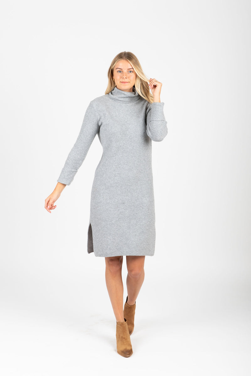 The Revive Ribbed Turtleneck Sweater Dress in Heather Grey, studio shoot; front view