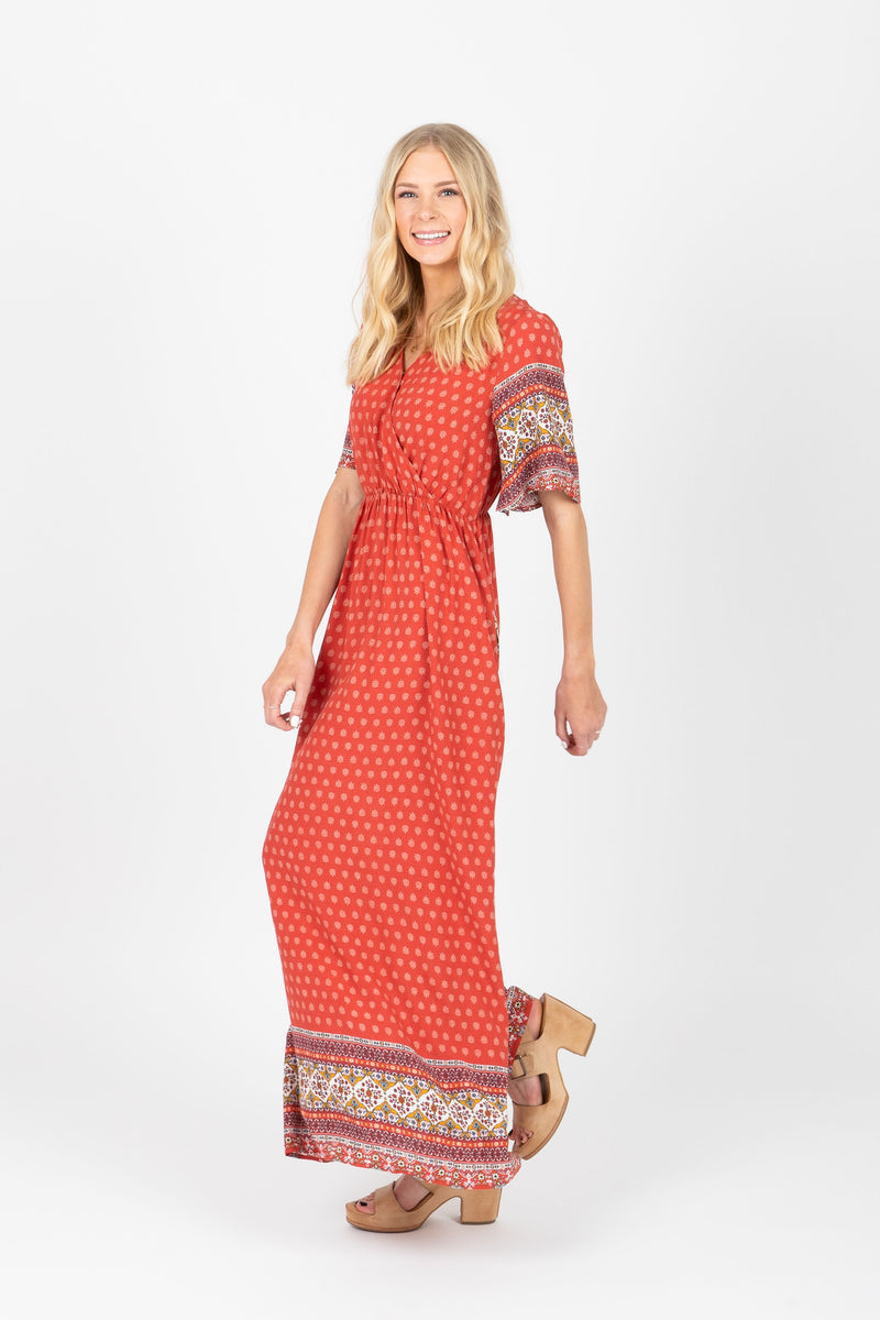 The Writer Patterned Maxi Dress in Poppy
