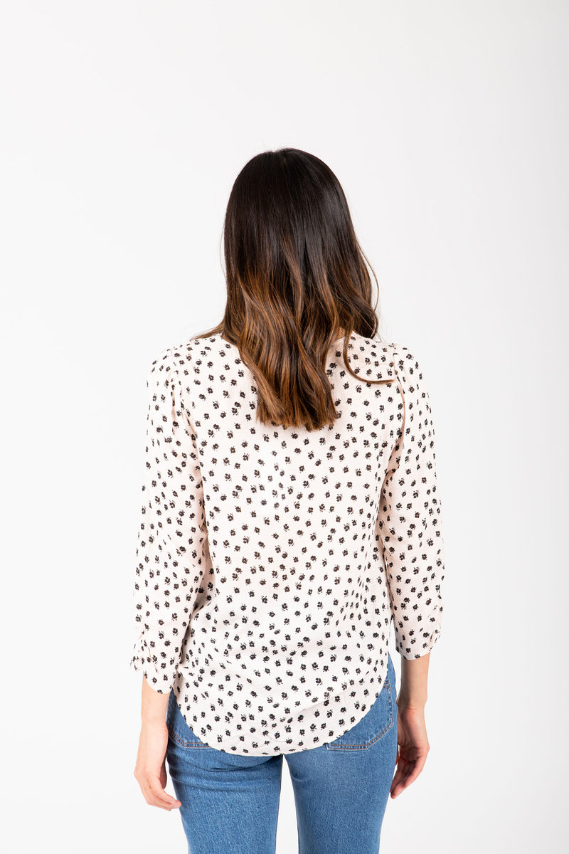 The Vance Printed Button Blouse in Pale Pink, studio shoot; back view