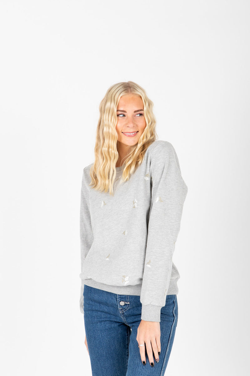 The Roe Embroidered Detail Sweatshirt in Heather Grey, studio shoot; front view
