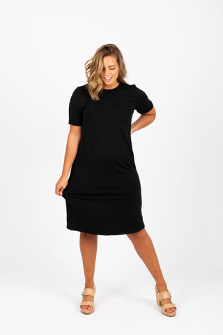 The Madeleine Casual Empire Dress in Black