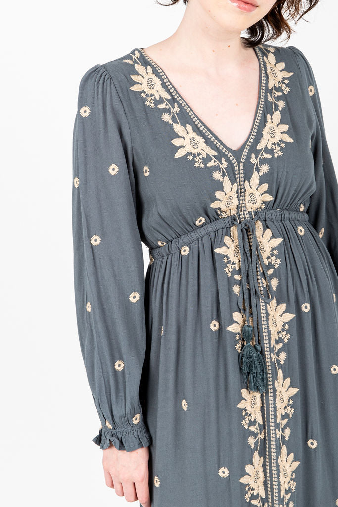 The Stellar Embroidered Dress in Slate, studio shoot; front view