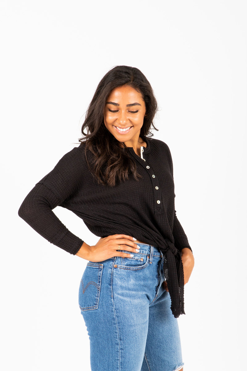 The Williams Waffle Tie Blouse in Black