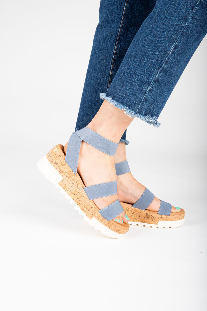 Steve Madden: The Bandi Sandal in Dusty Blue, studio shoot; side view
