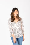 The Vance Printed Button Blouse in Pale Pink, studio shoot; front view