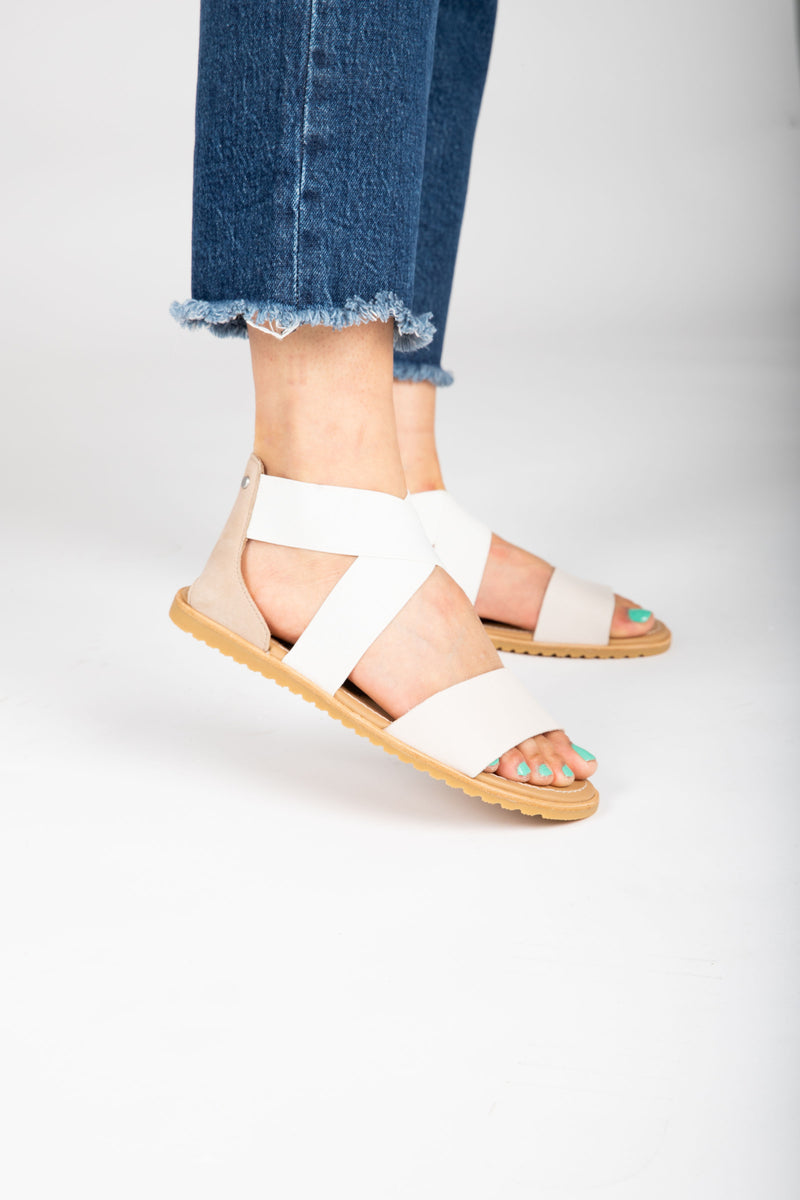 SOREL: Ella Sandal in Ancient Fossil, studio shoot; side view