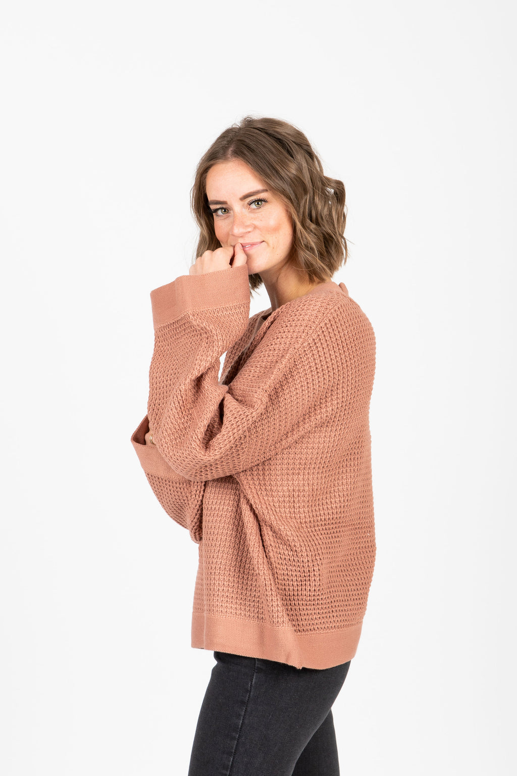 The Lowry Waffle Knit Pullover in Rose, studio shoot; side view