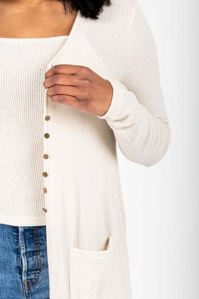 The Judd Ribbed Cardigan and Tank Set in Oatmeal, studio shoot; front view