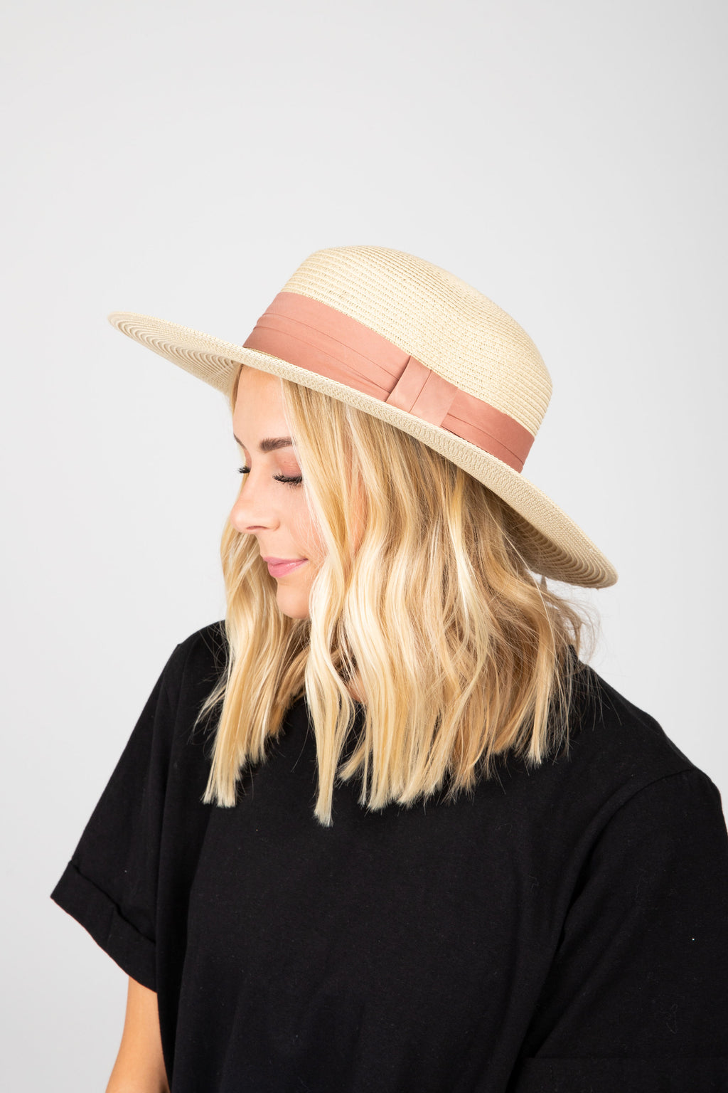Hat No. 34: Boater Hat in Blush