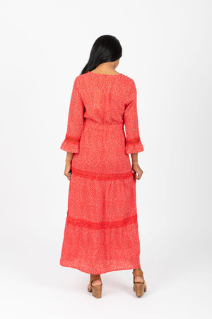 Piper & Scoot: The Belle Trim Patterned Dress in Poppy