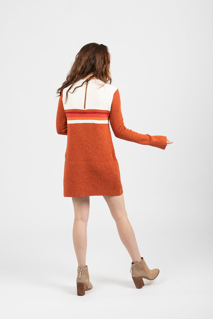 Free People: Colorblock Swit Mini Dress in Red Combo