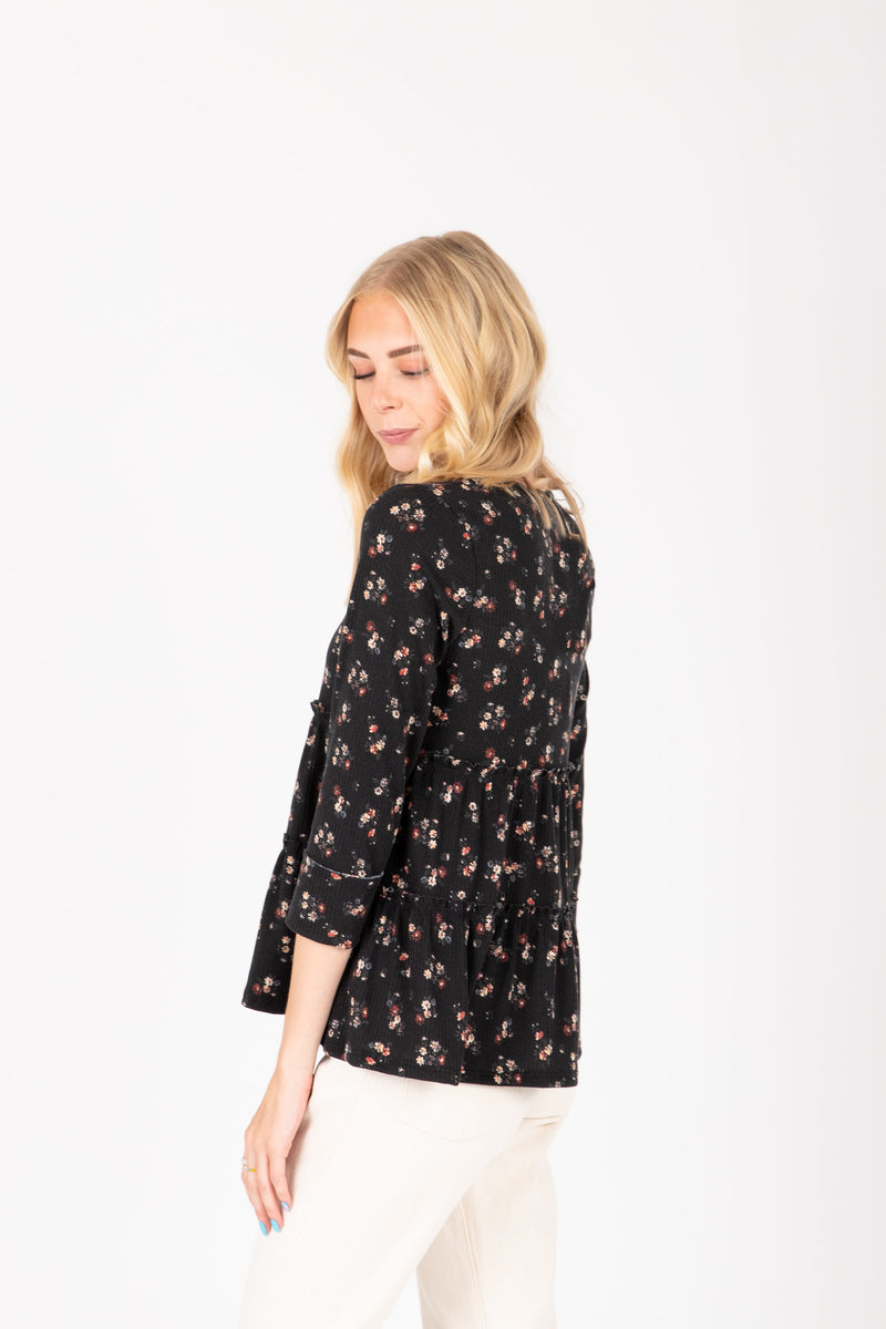 The Eddie Floral Tiered Peplum in Black