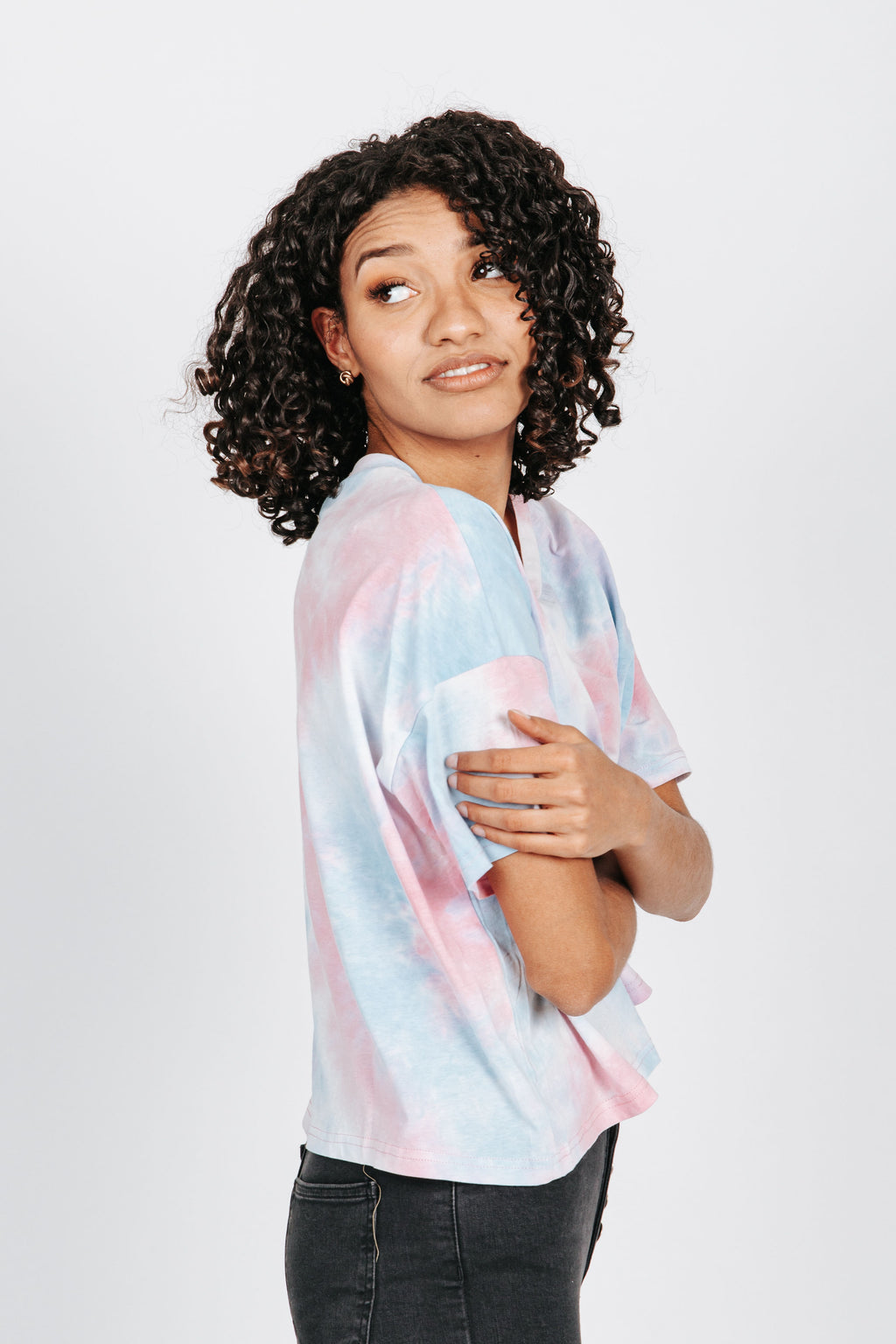 The Harbor Tie Dye Tee in Bubble Gum, studio shoot; side view