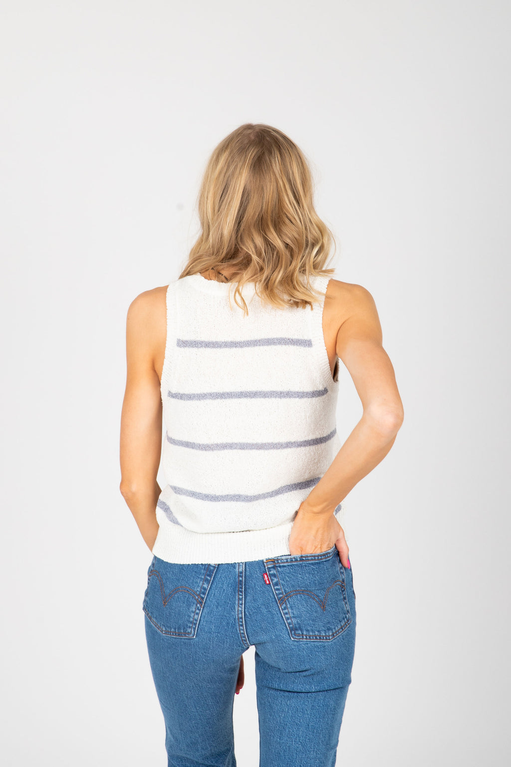 The Peace of Mind Knit Tank in Azure Stripe, studio shoot; back view