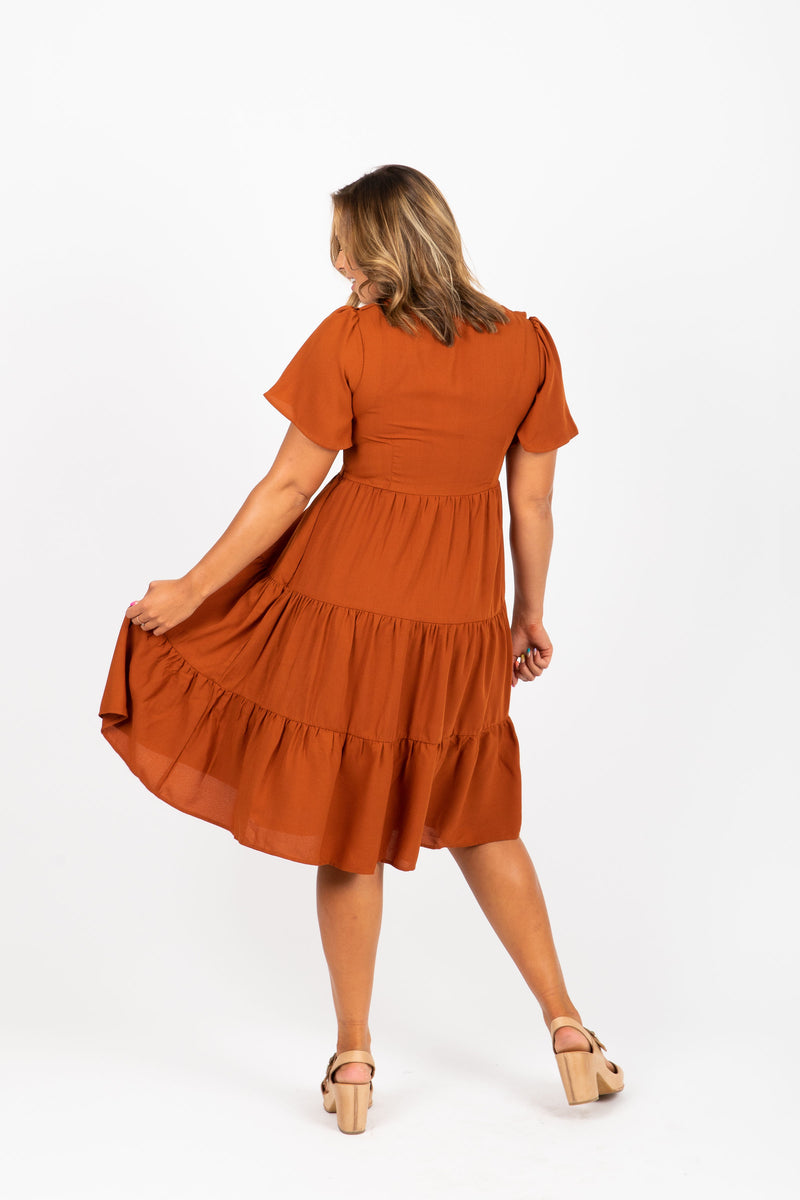 The Myrtle Ruffle Tiered Dress in Rust